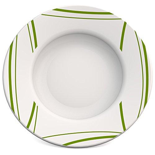 Ornamin assiette creuse Ø 23 cm bord Roseau vert mélamine (modèle 125)