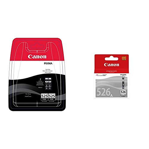 Canon PGI-525 2 Cartuchos Twinpack de Tinta Original Negro para Impresora de Inyeccion de Tinta Pixma + CLI-526GY, Cartucho de Tinta Original Gris para Impresora de Inyeccion de Tinta Pixma