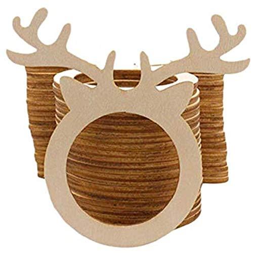 LUTIORE Weihnachtliche Serviettenringe, 10 Stück, Hirsch-Design, Holz-Serviettenschlaufen-Set, Weihnachtsparty-Dekorationen, Hotel, Zuhause, Esstisch, Serviettenschnalle
