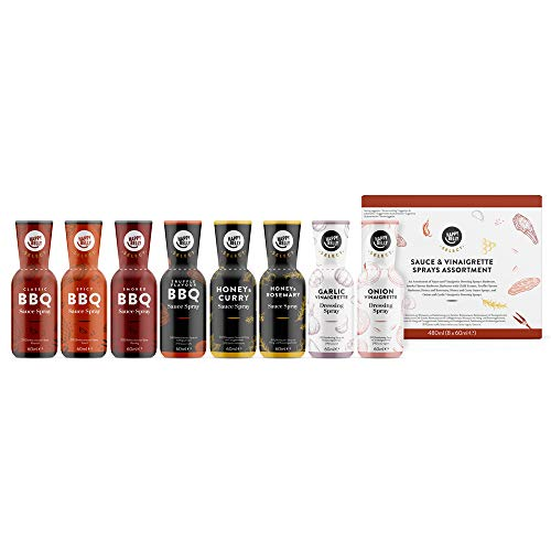 Marchio Amazon - Happy Belly Select - Set di 8 salse e vinaigrette (classica, affumicata, piccante, tartufata, miele e rosmarino, miele e curry, aglio, cipolla)