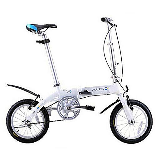 LNDDP Bicicleta Plegable Unisex, Mini Bicicleta Urbana una Velocidad y 14 Pulgadas, Bicicleta compacta Plegable con Guardabarros Delantero y Trasero