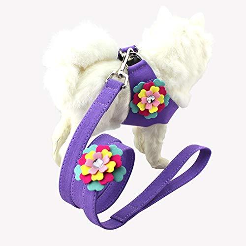 Perro de Mezclilla del Collar + Lona + 3D Flores de Encaje Suave reflexivo Perro Mascota Transpirable Correa Chaleco, tamaño: S (Rosa) SHOPING Yang WEI Gang (Color : Purple)