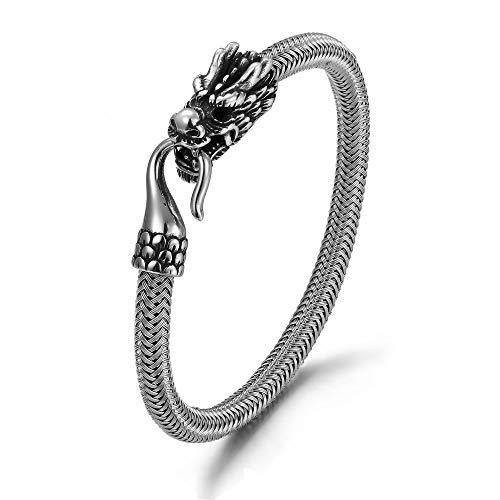 "ZiiLay Viking Jewelry for Men Stainless Steel Dragon Bracelet 8.1"""