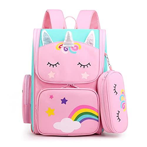 UKKO Zaino Bambini Borse Scolastiche Cartoon 3D Unicorn Girls Sweet Kids School Backpacks Boys Boys Leggero Impermeabile Impermeabile Scolastica Primaria-Pink Big