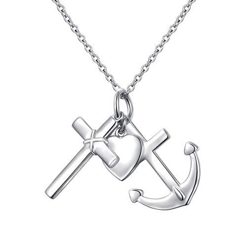 925 Sterling Silver Faith Hope Love Heart Anchor Cross Pendant Necklace for Women Girls