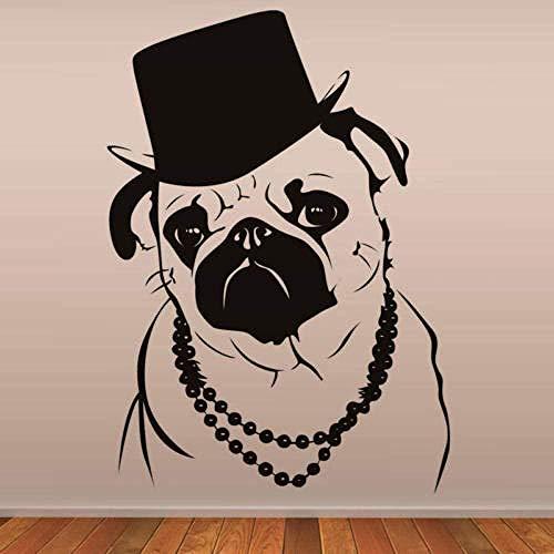 Decoración del hogar Etiqueta de la pared Etiqueta interior Cool Bulldog Moda Sombrero Montaje en pared Impermeable 59 * 77 cm