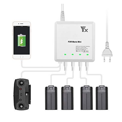 Powerextra 6 in 1 Batterie Ladegerät Netzteil für DJI Mavic Mini Akkus und Fernbedienung
