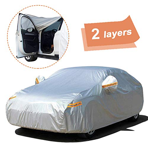 "SEAZEN Car Cover with Zipper,2 Layer Full Car Covers Waterproof All Weather,UV Protection Snowproof Dustproof,Universal Car Cover (Fit Sedan-Length Up to 200"")"