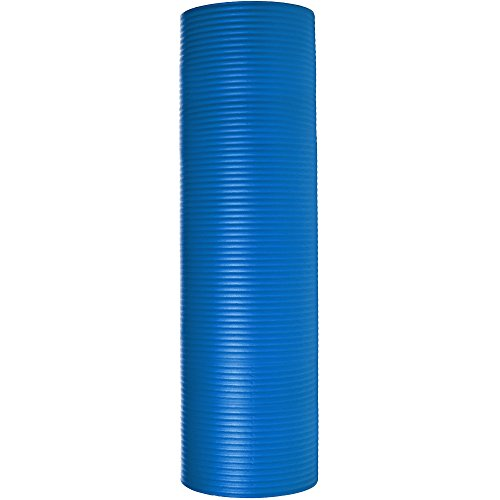 AmazonBasics 13mm Extra Thick Yoga and Exercise Mat with Carrying Strap, Blue