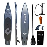 XTREME WATER FUN 12'6 Inflatable Stand Up Paddle Board for Racing, with Non-Slip Deck and Premium SUP/iSUP Accessories, Including Backpack, Hand Pump, Paddle, Bottom Fins, Safety Leash, Charcoal