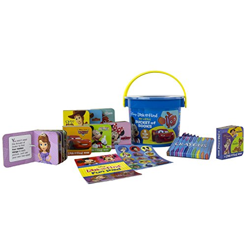 Disney - Mickey and Minnie Mouse, Toy Story, and more! - My First Library Look and Find Book Block Bucket 8-Book Set - PI Kids