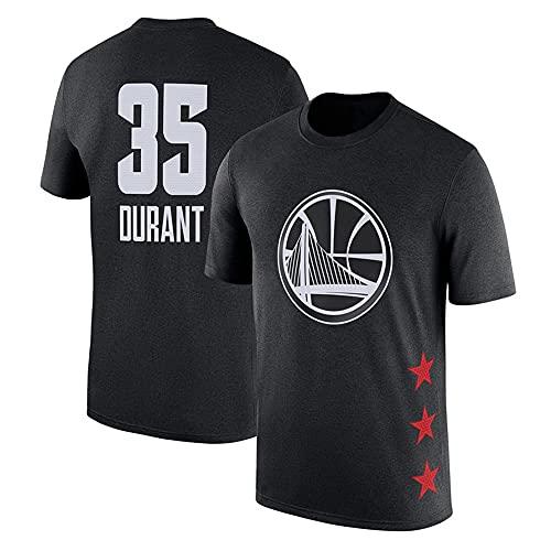 Uniformes De Baloncesto para Hombres, Golden State Warriors # 35 Kevin Durant Camisetas De Baloncesto De La NBA Vestidos Transpirables Camisetas De Manga Corta,Negro,XXXL(190~195)