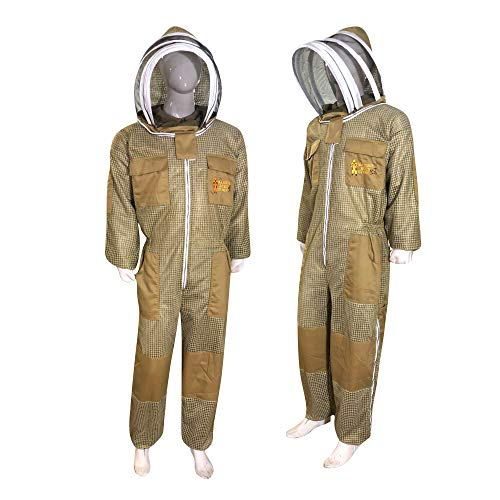 Three Layer Beekeeping Ventilated Suit and Jacket Fully Protection Beekeepers Ultra Ventilated Bee Suit and Bees Jacket with Fencing Veil and Round Veil (2XL, Khaki Fencing Veil)