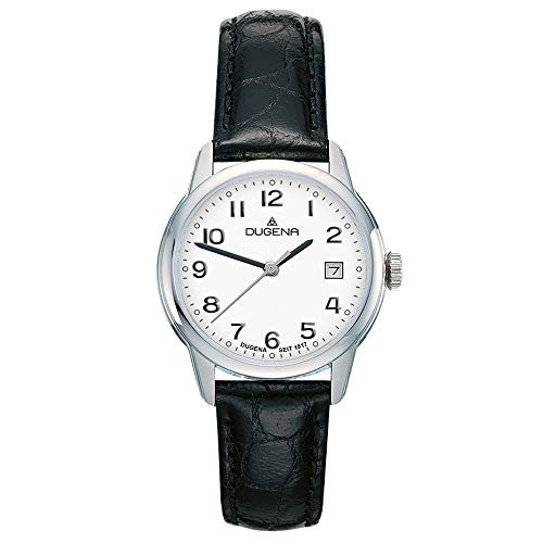 DUGENA Damen-Armbanduhr Vega, Quarz, Edelstahlgehäuse, Saphirglas, Lederarmband, Dornschließe, 5 bar (schwarz/Silber/weiß)