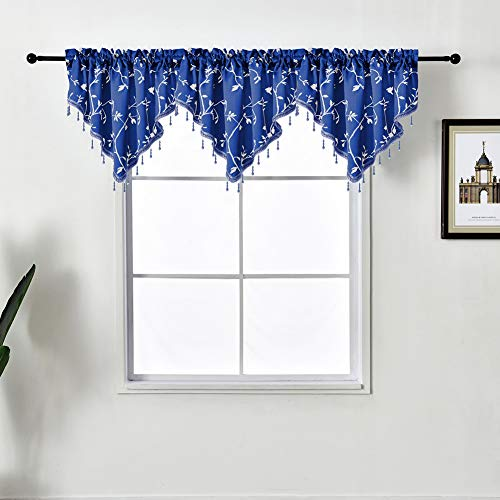 NAPEARL Lovely Beaded Kitchen Window Valance with Birds Vines Patterns, Rod Pocket Swag Curtain Valance for Farmhouse, Bathroom, 1 Panel ( 50 x 24 Inch, Navy Blue )