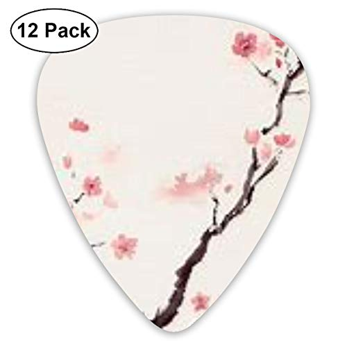 12 Pack Guitar Picks Cherry Blossom Design,for Unique Guitar Bass Electric & Acoustic Guitars,Different Thin 0.46mm 0.71mm 0.96mm