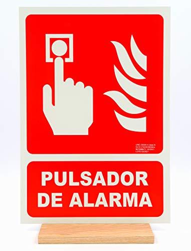 Señal luminiscente Pulsador de alarma homologada – seribas – Clase B PVC – 21 x 30 – 0,7mm – cartel pulsador de alarma – sujeto a nueva normativa.