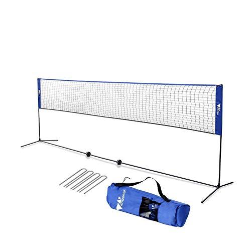 amzdeal Badminton Netz 4.2m Tragbares Volleyball- und Tennis- Netz mit Verstellbaren Höhen faltbares Federballnetz Outdoor Trainingsnetz (Blau)