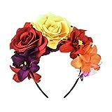 DreamLily Frida Kahlo Mexican Flower Crown Headband Dia de Los Muertos Headpiece Party Costume NC27 (Yellow Red)