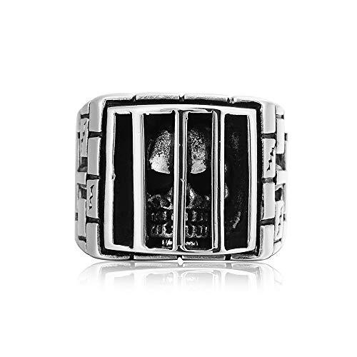 Qiuaii Punk Gothic Inferno Männer Gefängnis Ghost Head Titan Stahl Ring, Silber Größe 70 (22.3)