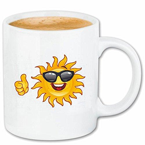 Reifen-Markt Kaffeetasse Smiley ALS Sonne MIT Sonnenbrille Smileys Smilies Android iPhone Emoticons IOS GRINSE Gesicht Emoticon APP Keramik 330 ml in Weiß