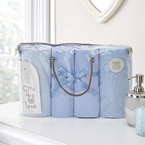 Clair de Lune Moisés Basket Juego de ropa de cama de regalo, 4 piezas, color azul