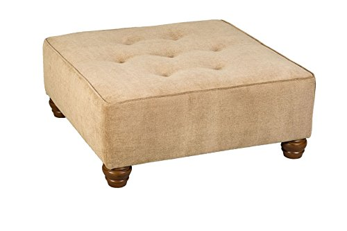 Leffler Home The The Elegant Hixon Square Upholstered Ottoman Coffee Tables, Light Brown