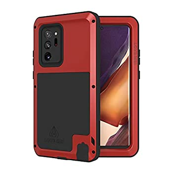 LOVE MEI Galaxy Note 20 Ultra 5g Phone Case [Without Glass Screen Protector] Full Body Sturdy Defender Hard Cover Heavy Duty Shockproof Dustproof Metal Silicone Case for Samsung Note 20 Ultra Red