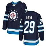 Laine # 29 Jets Besticktes Eishockey-Trikot Langarm-Eishockey-T-Shirt Herren Puck Sportswear Fans Trikot S-2XL-darkblue-L