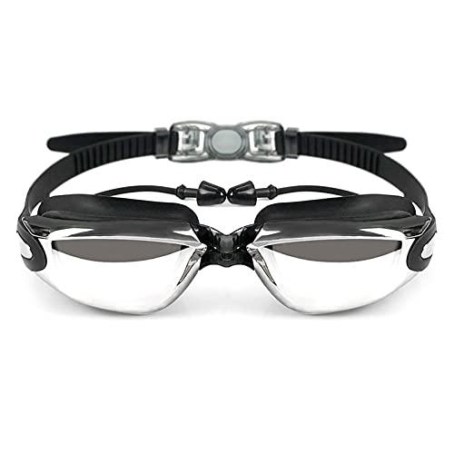 JKLO Gafas de natación Profesional Earplugs Electroplate Empresa de Agua Gafas de natación Adulto Siliconeanci Niebla Eyewear Óptico 910 (Color : Black, Size : One Size)