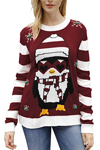 Sovoyontee Women Penguin Knit Funny Hilarious Ugly Christmas Sweater Red-Penguin Large