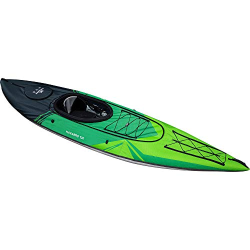 AQUAGLIDE Navarro 130 Convertible Inflatable Kayak with Drop Stitch Floor- 1 Person Touring Kayak without Cover, Green