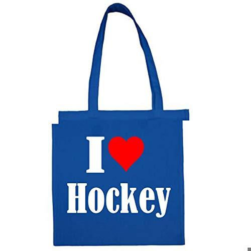 Tasche I Love Hockey Größe 38x42 Farbe Grau Druck Schwarz