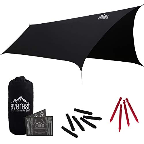 Everest Hammock Rain Fly | Waterproof Outdoor Tarp | Perfect for Camping, Backpacking, Tents, Hammocks, and More | Ripstop Nylon | Lightweight Aluminum Stakes Included - Black