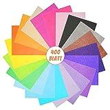 VGOODALL Carta velina, 400 fogli A4, 20 colori, 16 g/mq, per realizzare pompon, fiori di carta per matrimoni, compleanni e matrimoni
