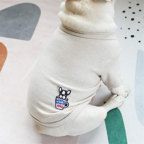 Hdwk&Hped Small Medium Dog Shirt Soft Cotton Pet Pajamas T-Shirt Style for Fat Dog French Bulldog Corgi Beige #3