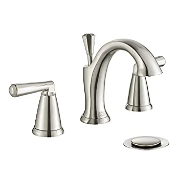 8 inch Brushed Nickel Bathroom Faucet Widespread,Two-Handle Lavatory Sink Faucet for 3-Holes Wide Spread Set Vanity with Lift Pop-up Drain Assembly by ENZO RODI