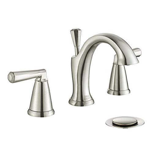 ENZO RODI Chrome Bathroom Faucet 3 Holes, Modern Style Two-Handle Widespread Bathroom Sink Faucet with Lift Pop Up Drain Assembly, ERF2212254CP-10