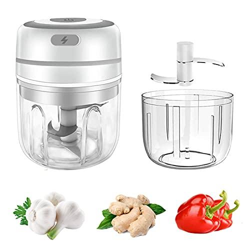 Minipicadora eléctrica WMLBK 2 en 1, picadora de ajos USB, picadora de verduras con 2 cuencos de 250 ml + 100 ml, prensa de ajos eléctrica para ajos, carne, cebollas, frutas, verduras