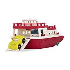 Floating fun: includes two toy roadster cars and room to ferry other toys to port with this tough bath toy! Where should we go? The realistic toy boat brings toys on imaginary commutes and floating adventures! It really hauls! Features a wind-up prop...