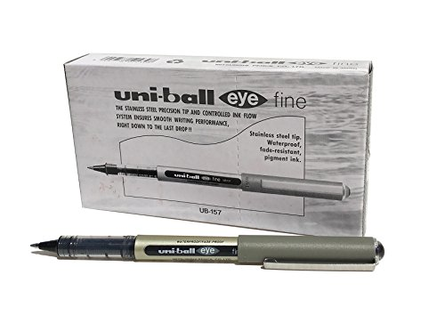Uni-ball UB-157 Eye Fine Kugelschreiber, schwarze Uni Super-Tinte, 0,7 mm Spitze, 12 Stück