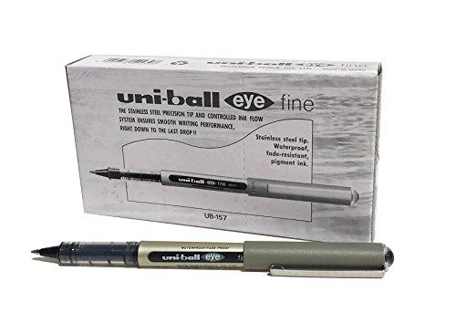 Penna rollerball UB-157 Eye Fine, inchiostro nero Uni-ball Super Ink, pennino da 0,7 mm, scatola da 12 pezzi