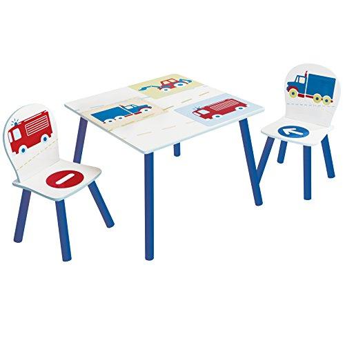 Hello Home 527VEH Véhicules - Ensemble table et 2 chaises pour enfants, Bois Dense, Blanc, 63 x 63 x 52 cm
