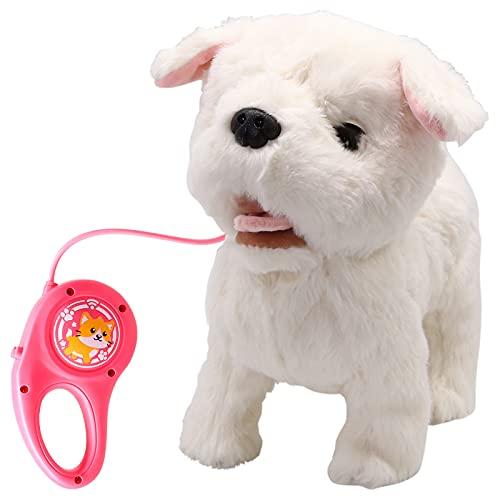 GRESATEK Elektronische Haustiere Hund, Interaktives Spielzeug Plüschhund mit Leine, Sprach/Fernbedienung Gehen und Bellen, Weiß Weicher Haustier Welpen Chihuahua Hund für Kinder Jungen Mädchen