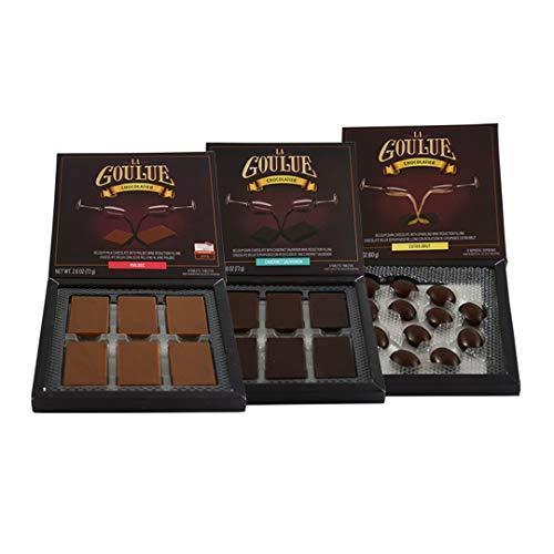 La Goulue| Belgian Milk Chocolate Candy with Malbec wine filling | Dark chocolate with Cabernet Sauvignon wine | Dark Chocolate Champagne truffles| Extra Brut, fillings | 3 boxes| Vino| Dessert| Gift