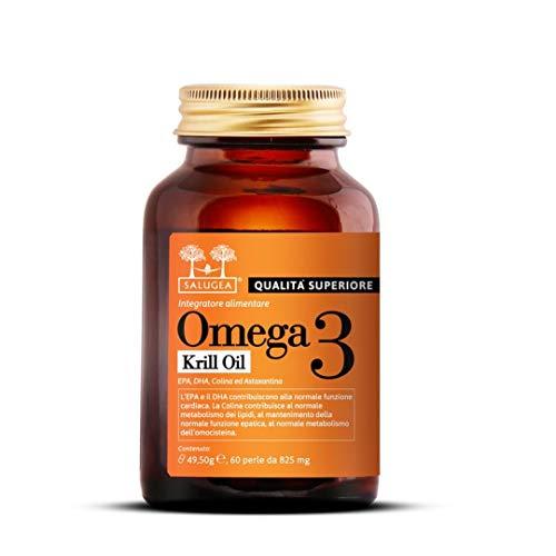 OMEGA 3 0072 KRILL OIL Salugea - 100% naturale da puro olio di Krill Antartico con Colina e...