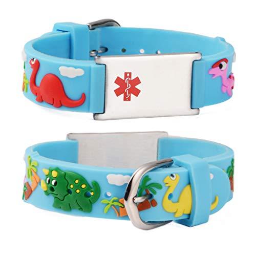 Linnalove - Pulseras de alerta médica, regalo para padres, hija, hermano, hermana, dinosaurio, azul 6.5 inches