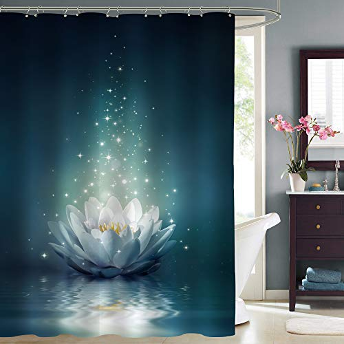 MitoVilla Magic Lotus Floral Duschvorhang, leuchtende Seerose, schwimmend auf Teich Wasser Kunstwerk für orientalische Zen Spa Badezimmer Dekor, dunkles Blaugrün, 182.9 cm B x 243.8 cm L