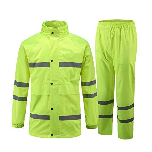 Icegrey Wasserdichten Anzug mit Reflexstreifen Regenjacke mit Kapuze Regenhosen Arbeitskleidung Fluoreszierendes Grün 46