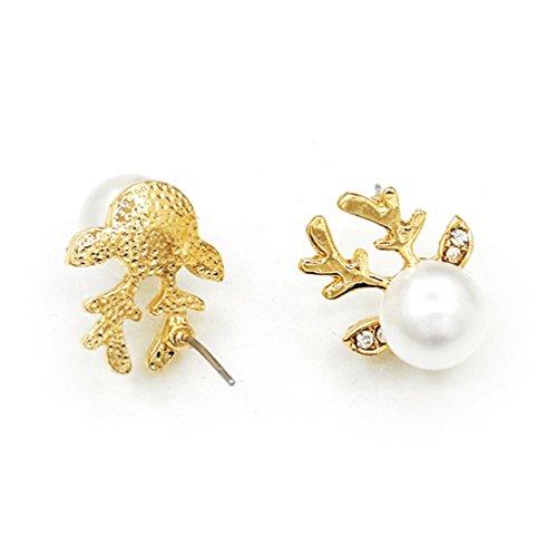 Oblique-Unique® Rentier Ohrringe Weihnachten Elchgeweih Perle - Model wählbar (Gold)